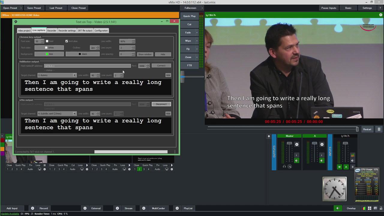 Skärmavbild på produktionsverktyget Text-on-Top Video